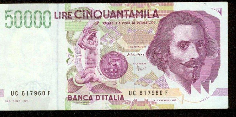 1992 Italy 50,000 Lira Bank Note Pick#116B Crisp Uncirculated Below WholeSale !