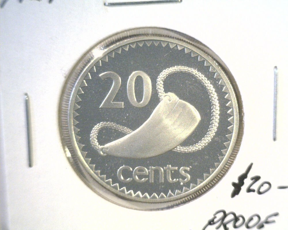 1976 Fiji Silver Proof 20 cent coin KM#31a  .3893 ASW One of Only 3,012 minted !