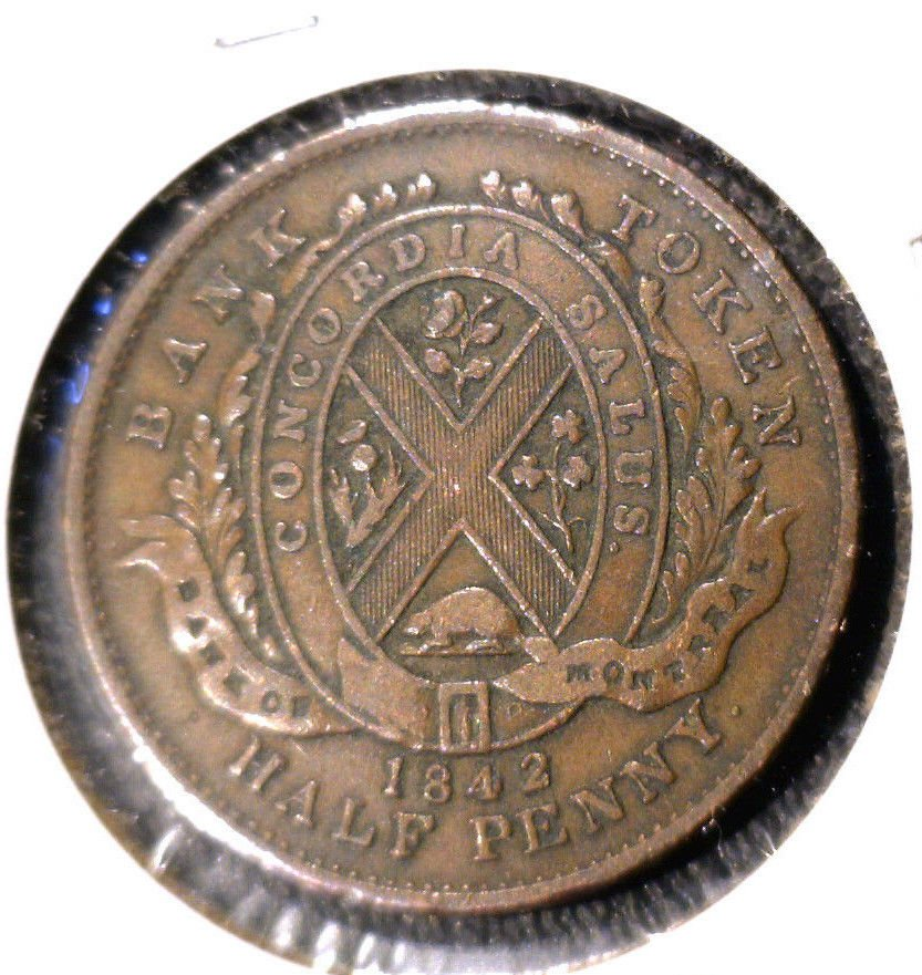 1842 Half Penny Token Bank of Montreal TN-18   XF condition Province of Canada