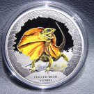 Frilled Neck Lizard 2013 Tuvalu Silver Proof  Dollar Coin  Ltd. Ed. of 5000 !