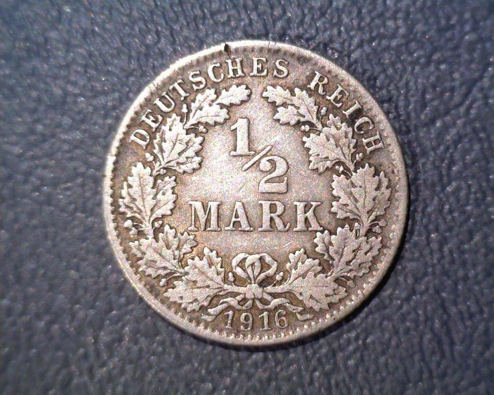 Germany 1916-D 1/2 Mark  KM# 17 Silver !