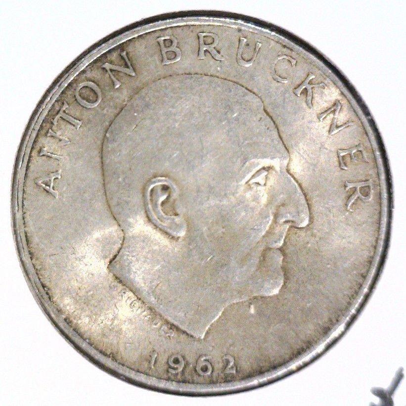 Austria 1962 Silver 25 Schilling Coin BU .3344 ASW KM#2892 Composer Bruckner
