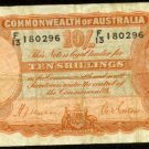 1939 Australia Ten Shillings Note Pick#25a      Manufacture