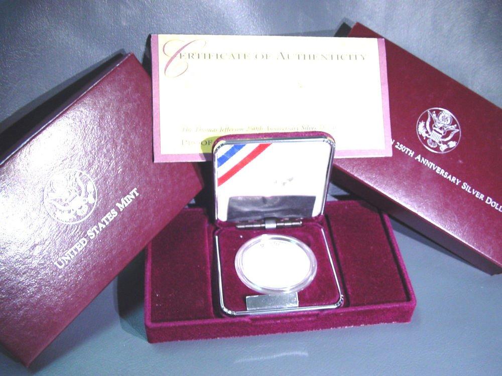 1993 Thomas Jefferson Silver Proof Commemorative Dollar OGP and COA