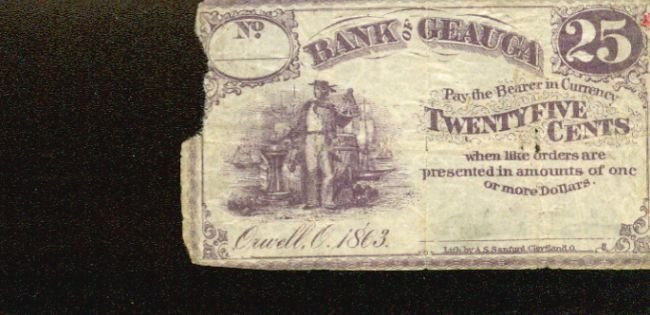 1863 Ohio Bank of Geauga 25 cents obsolete fractional note