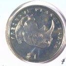 1994 Eritrea Prooflike One Dollar Coin  KM#16 Wildlife Black Rhinoceros