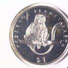 1994 Eritrea Prooflike One Dollar Coin  KM#17 Wildlife Colobus Monkey