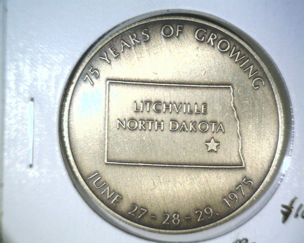 1900-1975 Litchville ND Medal 75 years of growing  Diamond