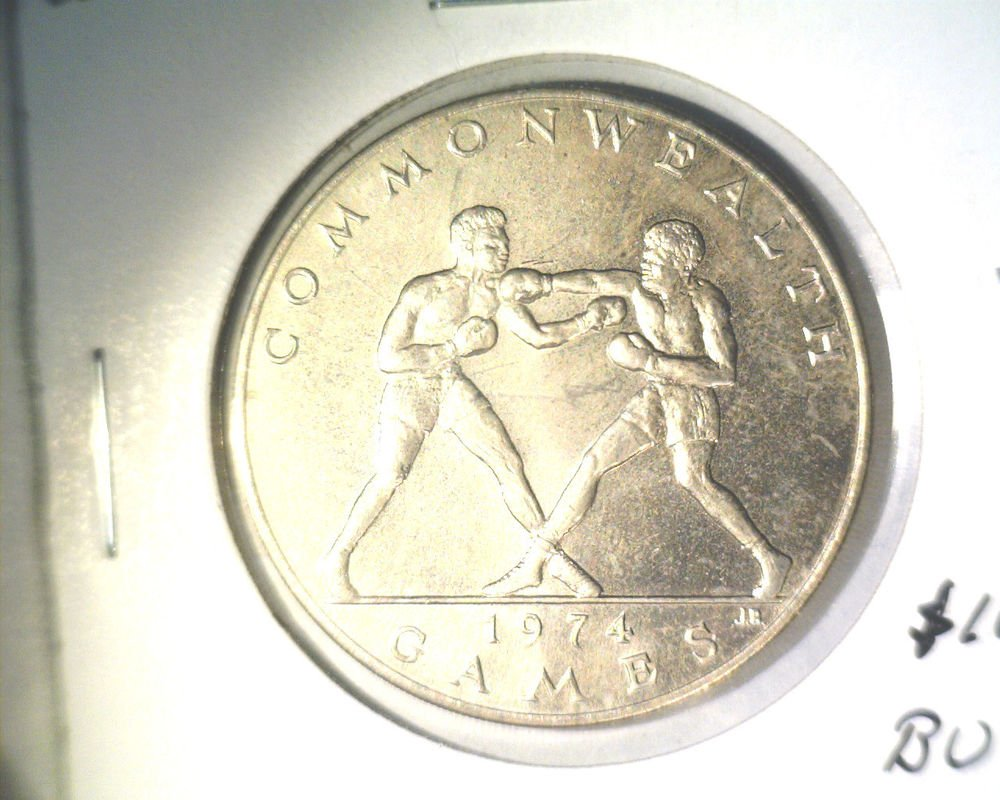 1974 Western Samoa One Tala Coin BU KM#18 Commonwealth Games Boxing Boxers