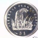 1994 Eritrea Prooflike One Dollar Coin  KM#15 Wildlife Cheetah