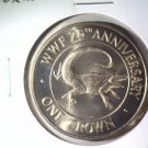 1988 Turks and Caicos Crown Coin BU KM#64 World Wildlife Fund Rock Iguana