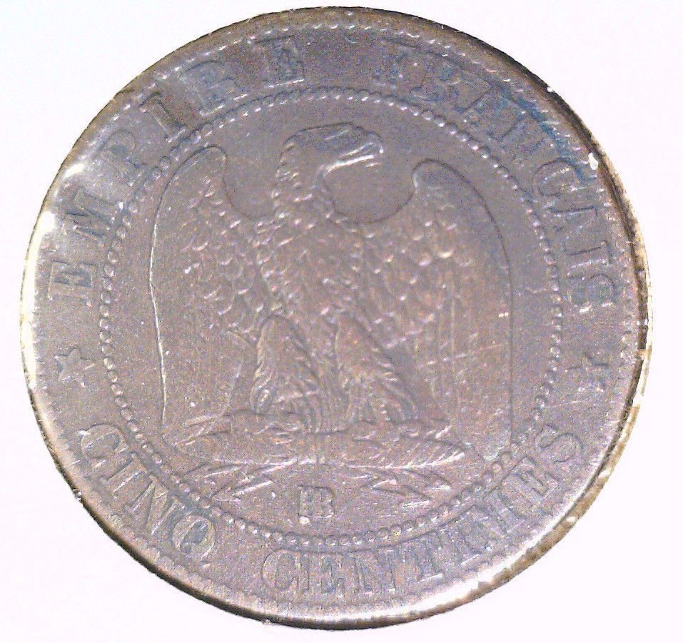 1856 BB France 5 centimes coin    KM#777.3