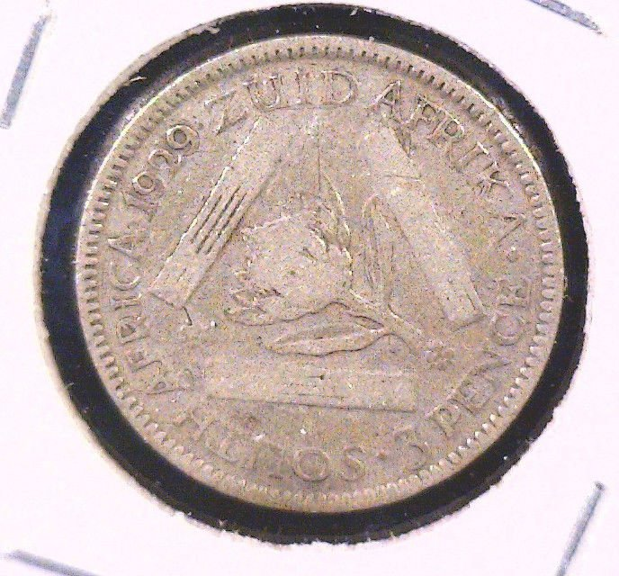 South Africa 1929 Silver 3 Pence Coin  KM#15.1  .0363 ASW