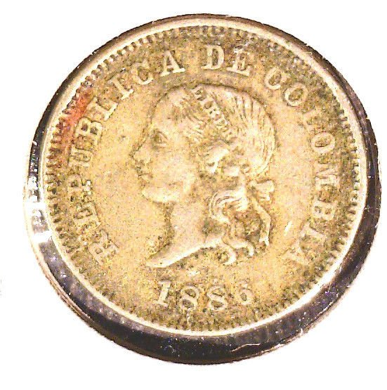 1886 Colombia 5 centavos coin KM#183.2
