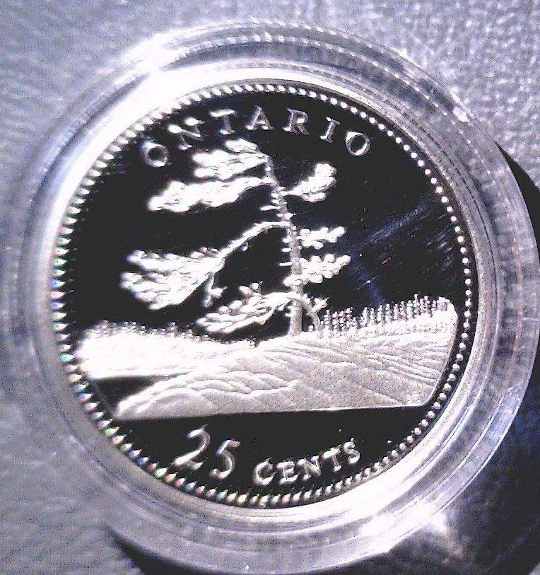 1992 Canada Commemorative Silver Proof 25 cent Coin .925 Silver  Ontario  COA