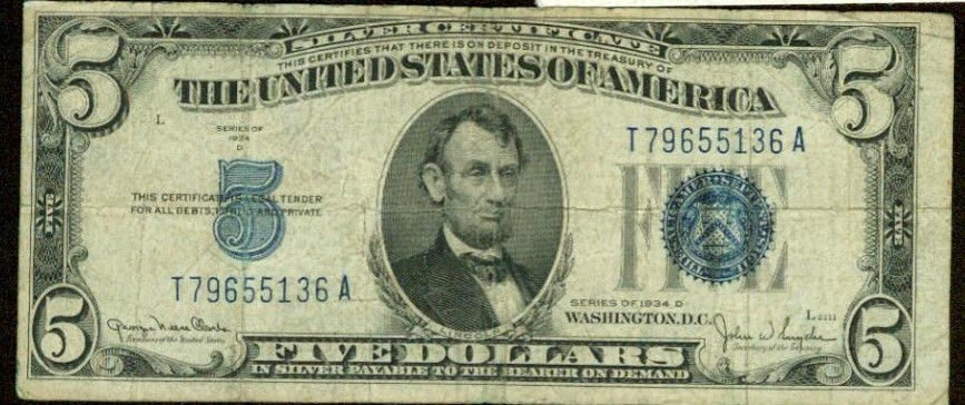 1934 D $5 Silver Certificate  Blue Seal  FR-1654