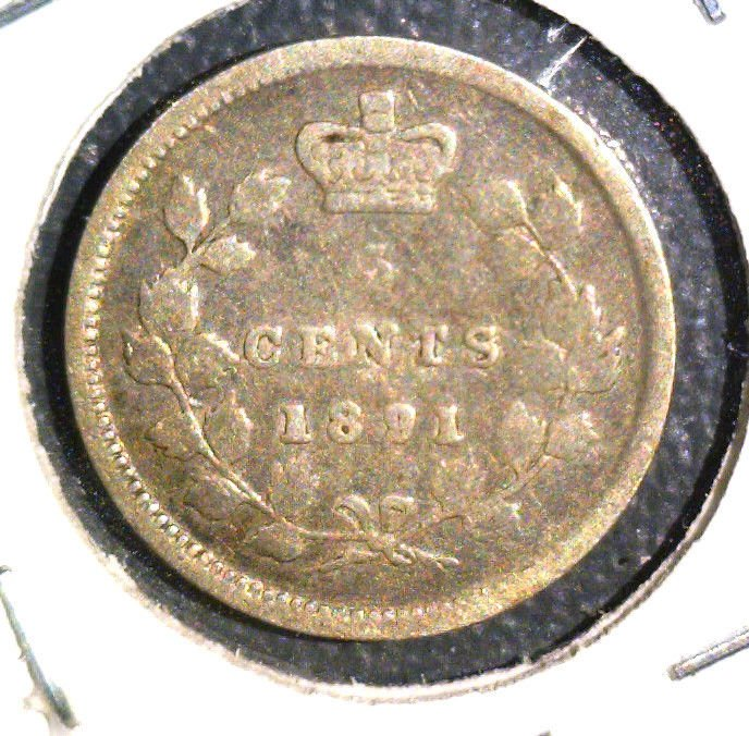 1891 Canada Silver 5 cent coin KM#2 .0346 ASW