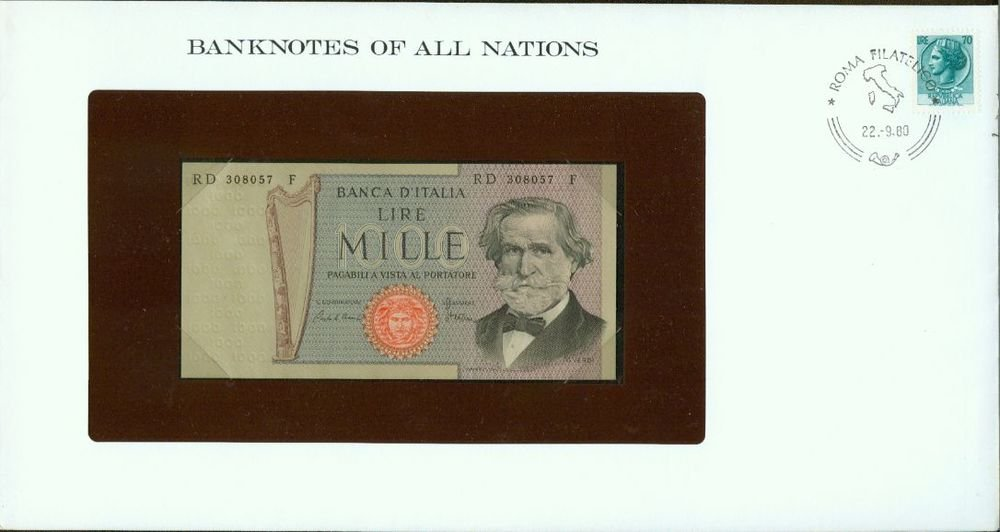 1980 Italy 1000 Lire Note Pick#101g CRISP UNCIRCULATED ! In Sealed envelope