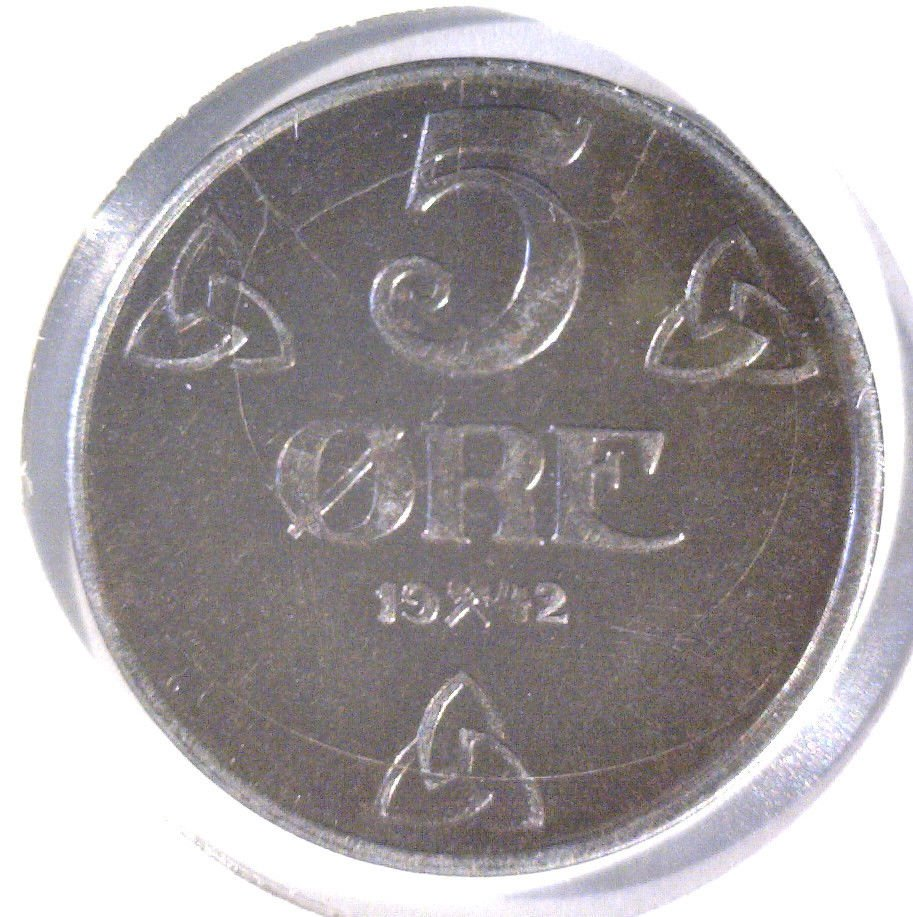 1942 Norway 5 Ore Coin KM#388 UNCIRCULATED