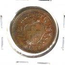 1882 B Switzerland Rappen Coin KM#3.1  XF details damaged
