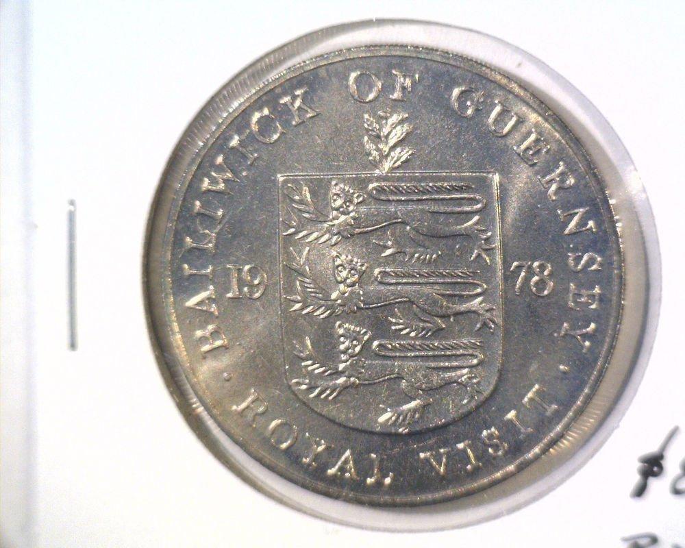 1978 Guernsey 25 pence / crown coin BU KM#32 Royal Visit
