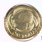1990 New Zealand One Dollar Coin BU KM#78   Kiwi Bird