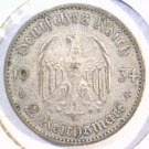 1934 A Germany 2 reichsmark silver coin KM#81 Very Fine 3rd Reich Swastika Nazi