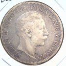 1898 A Prussia 5 mark silver coin KM#523 Funf mark  .8937 ASW German States