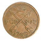 1760 Sweden 2 Ore Coin KM#461   Copper  3.5 grams  #1
