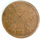 1749 Sweden 2 Ore Coin KM#437   Copper  3.5 grams