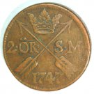 1747 Sweden 2 Ore Coin KM#437   Copper  3.5 grams