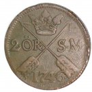 1746 Sweden 2 Ore Coin KM#437   Copper  3.5 grams