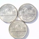 Silver War Nickels P,D,S Set Brilliant Uncirculated 1942-S, 1943-D, 1944-P  BU