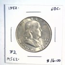 1952 Franklin Silver Half Dollar  Brilliant Uncirculated