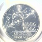 1986 France Piedfort 100 Francs Silver Coin KM#P-972 BU .868 ASW 1 of 5,000 Blue