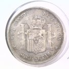 1890 (90) MP-N 5 Spain Pesetas Silver Coin KM#689  .7234 ASW Alfonzo XIII  Blue
