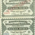 1876 Philadelphia World's Fair BLUE/WHITE COMBO Ticket Crisp UNC Red Overprint