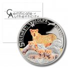 2013 1,000 Shillings Cheetah Colored Proof Silver Coin from Tanzania .925 fine