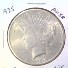 1925 Silver Peace dollar  About Uncirculated Nice Mint Luster !