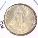 1944 D Philippines Silver 20 Centavos Coin BU KM#182 .0958 ASW #2