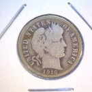 1916 Barber Silver Dime Very Good Condition