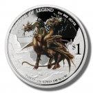 2013 Tuvalu Silver Proof $1 coin 3 headed Dragon  .999 fine silver  OGP & COA