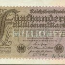 Germany Hyperinflation Note 1923 500 Million Mark Pick 110A  AU  Thistles
