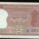 India Two Rupees Bank Note 1962 Pick # 51  About Uncirculated