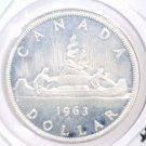 1963 Canada Prooflike Silver One  Dollar Coin KM#54 .5961 ASW Voyageurs in Canoe