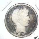 Barber Half Dollar 1915 S Very Good Condition    Cleaned