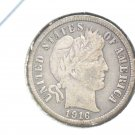 Nice Original Toning 1916 Silver Barber Dime  About Uncirculated !