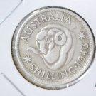 1943 A Australia Silver Shilling Coin KM#39 Very Fine .1669 ASW George VI & Ram