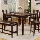 Dark Brown Finish Counter Height Table w/ 4 Chairs & Bench - FREE DELIVERY IN SOUTHERN CALIFORNIA