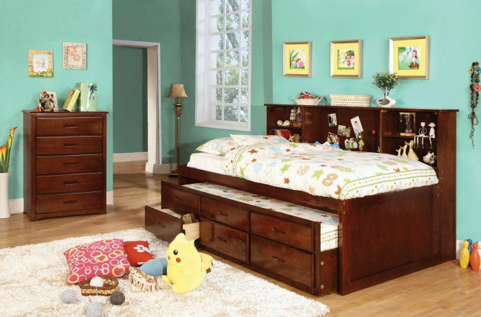 Cherry twin or full size captain bed w twin trundle 3 drawers